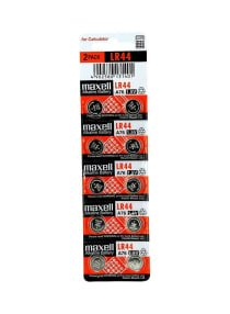 Maxell Pack Of 10 LR44 Alkaline Coin Battery silver