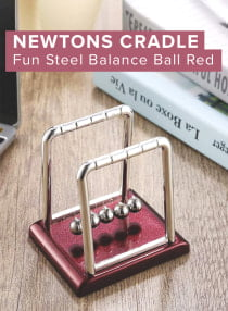 OUTAD Newtons Cradle Fun Steel Balance Ball Red
