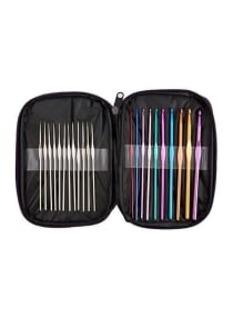 BetyBedy 22-Piece Aluminium Crochet Hook Set Gold-Blue-Purple 7.1x5.1x0.6 inch