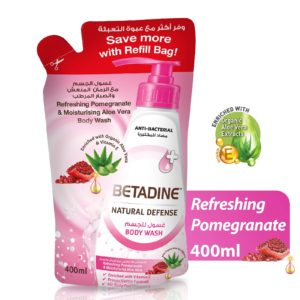 Betadine Natural Defense Anti Bacterial Body Wash Refreshing Pomegranate Body Wash Refill for sale in Dubai, Sharjah and other Emirates in UAE